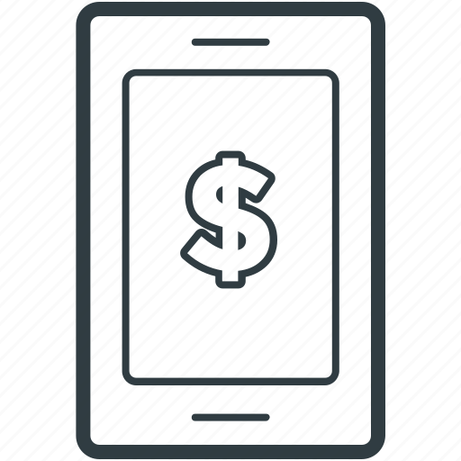 dollar sign, mobile communication, mobile internet, mobile screen, mobile technology icon
