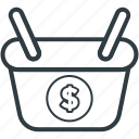 basket, dollar, dollar sign, shopping, shopping basket icon