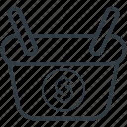 basket, dollar, dollar sign, shopping, shopping basket icon
