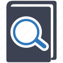book, guide, library, magnifying, search, seo icon