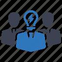 businessman, leadership, leader, team icon