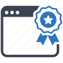 award, certified, marketing, page, ribbon, seo, webby icon