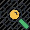 gearwheel, investigation, magnifier, mechanism, teamwork