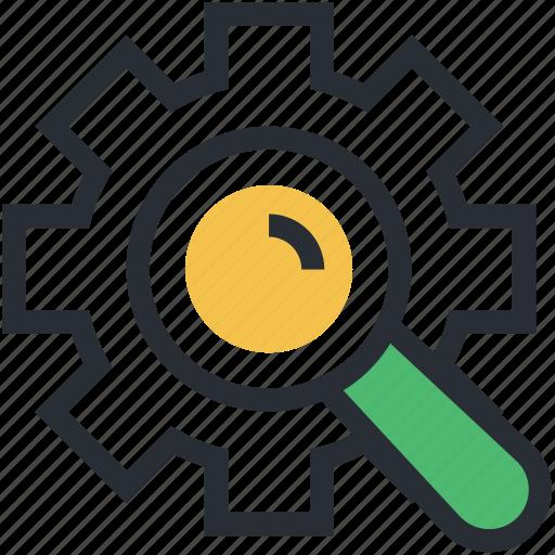 gearwheel, investigation, magnifier, mechanism, teamwork icon