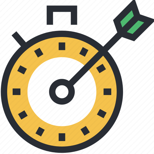 arrow hitting, chronometer, measurable goal, rapidity, target icon