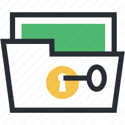 data security, file defence, folder key, portfolio, secret data icon