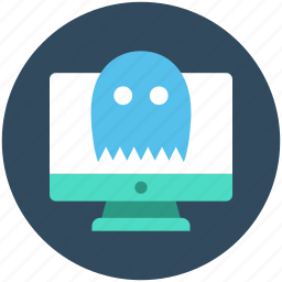 monitor, online game, pacman game, pacman ghost, video game icon