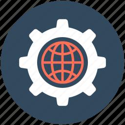 cog, cogwheel, gear, globe gear, setting icon