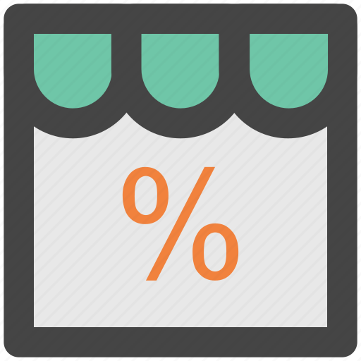 building, marketplace, percentage sign, shop, store icon