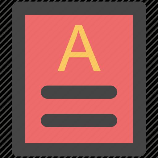 a grade, document, file, grade sheet, paper icon