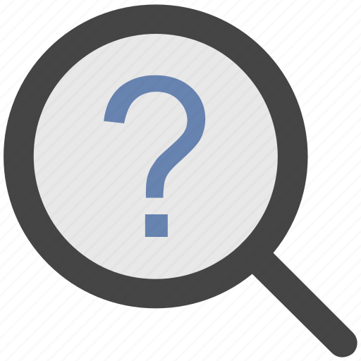 common answers, common questions, faq, magnifier, question mark icon