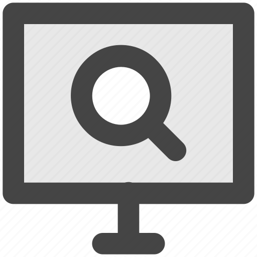 lcd, magnifier, screen, search screen, search virus icon