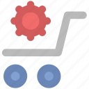 cart setting, cogwheel, shopping cart, supermarket, trolley icon