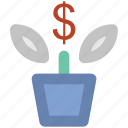 leafage, money plant, plant pot, sapling, small plant icon