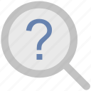 common answers, common questions, exploration, faq, magnification, magnifier, question mark icon