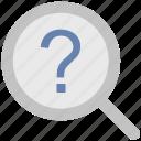common answers, common questions, exploration, faq, magnification, magnifier, question mark