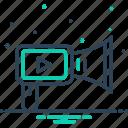 broadcasting, marketing, multimedia, production, promotion, publishing, video marketing icon