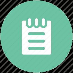 jotter, notepad, steno pad, textsheet, writing icon