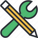 link building, pencil, seo, web development, wrench icon
