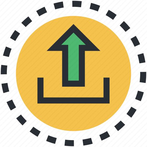 arrow, indicator, upload, uploading, upward icon