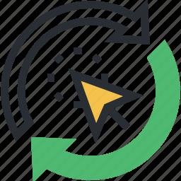 cursor click, internet marketing, ppc, quick referral traffic, reload arrows icon