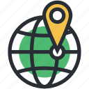global location, global positioning system, globe, map marker, navigation concept icon