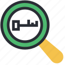 key, keywords, magnifier, optimization, seo icon