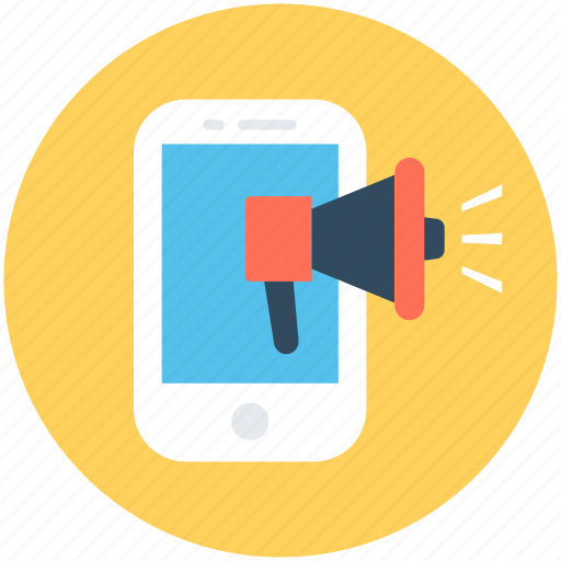 advertising, megaphone, mobile advertising, mobile announcement, publicity icon
