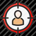 hit, person, plan, seo, target, targeting, user icon