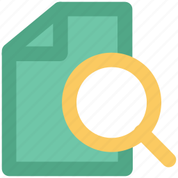 magnifier, online searching, paper searching, searching document, text searching icon