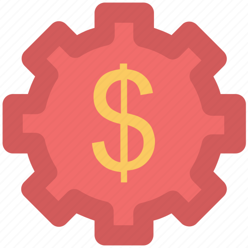 accounting, business gear, cogwheel, currency gear wheel, dollar gear icon
