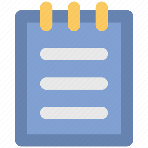 jotter, notepad, steno pad, textsheet, writing icon