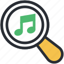 magnifier, music file, music search, searching, social media icon
