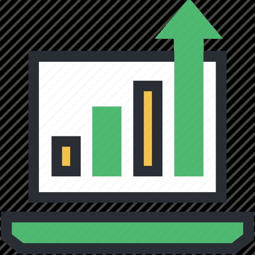 analysis, analyzing, increasing chart, laptop screen, statistics icon