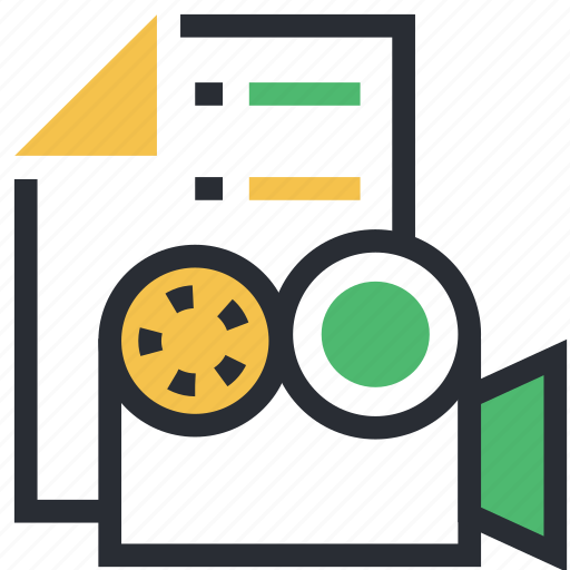 cinematography, file, multimedia archive, video camera, video file icon