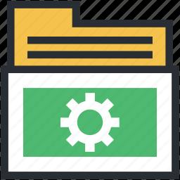 engineering, folder, gear sign, industrial project, info organization icon