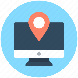 location finder, map pin, monitor, online map, online navigation icon