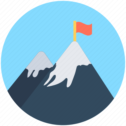 achievement, flag, goal, mission, mountain peak icon