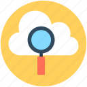 cloud computing, computing, magnifier, magnifying, search cloud icon