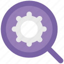 cogwheel, gear, magnifier, magnifier setting, magnifying glass, zoom icon