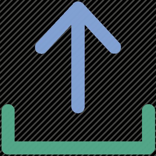 arrow, indicator, into, up sign, upload, uploading, upward icon