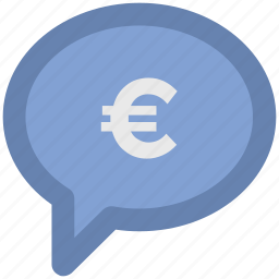 bubble, chat bubble, euro, euro bubble, message, sale offer icon