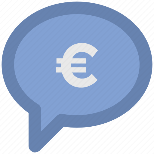 bubble, chat bubble, euro, euro bubble, message, sale offer icon