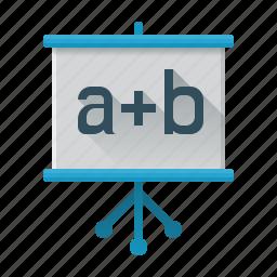 courses, flipchart, formula, marketing, seo, study, training icon