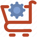 cart setting, cogwheel, shopping cart, supermarket, trolley icon