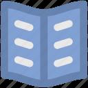 book, diary, open book, reading, text icon