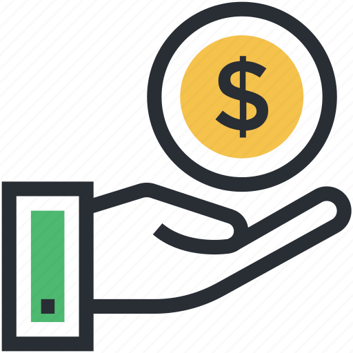 dollar sign, economy, human hand, investment, money in hand icon