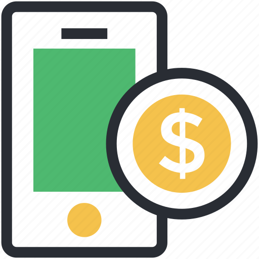 dollar sign, mobile communication, mobile internet, mobile screen, mobile technology icon