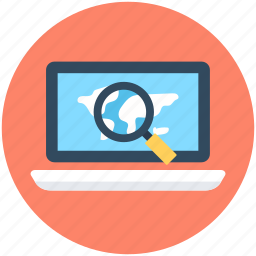 laptop, magnifier, magnifying, online navigation, search location icon