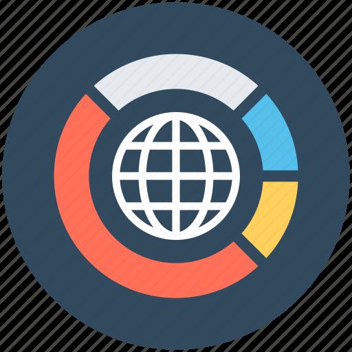 global analytics, global stats, globe business, graph, international analysis icon